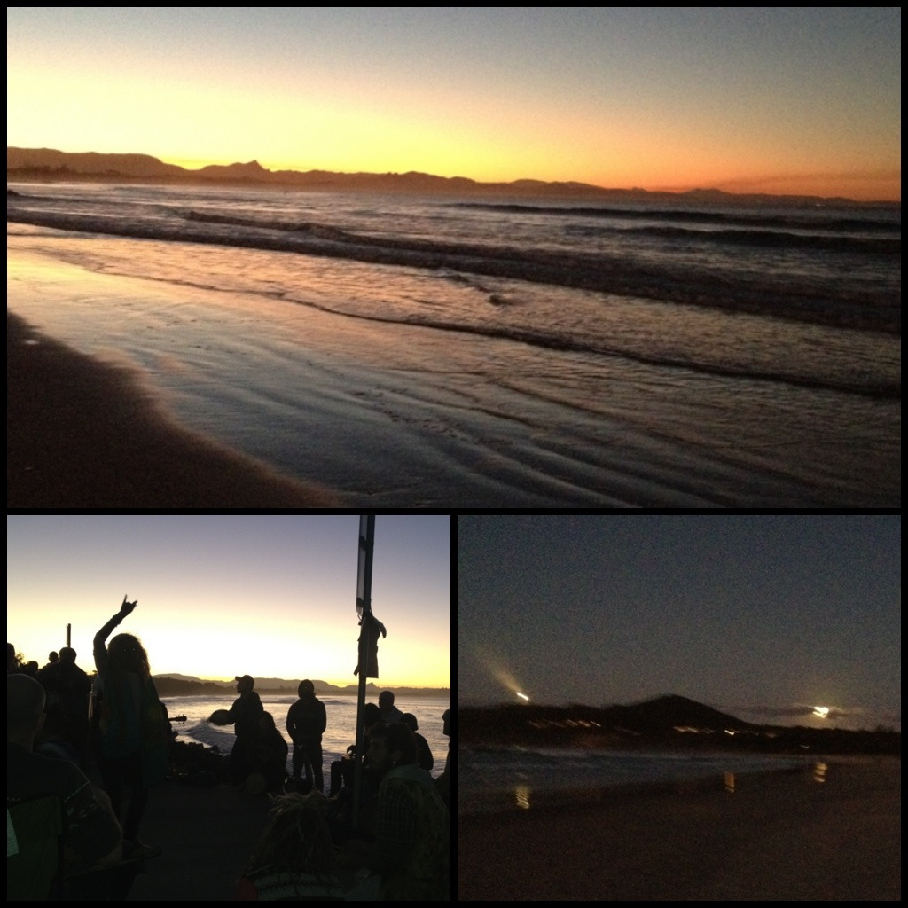 Sunset, moonrise & a drum circle