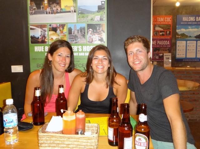 Beth Danielle & Luke in the hostel bar