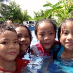 Girls in the Kids Pool