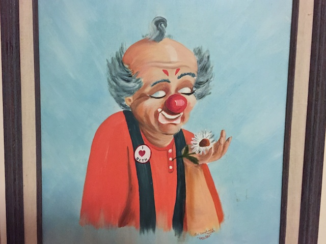 "Painting my maternal grandfather (""GG"") painted for me in 1986. Half way through my marzipan clown modeling, I re-shifted my design to attempt to more closely match this painting. :)"