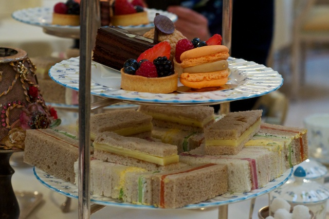 The Ritz afternoon tea: petit fours and sandwiches