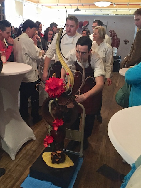Alistair (the winner!) moving his chocolate centerpiece