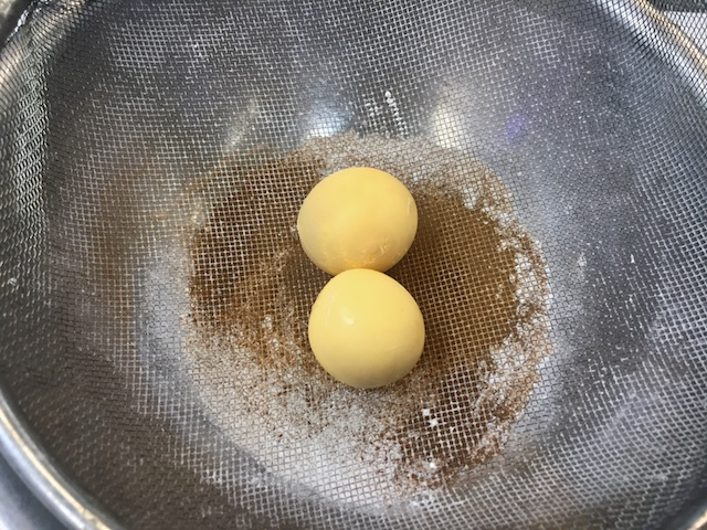 Dough made with sieved hard-boiled egg yolks