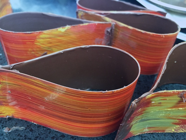 Painted chocolate ribbons