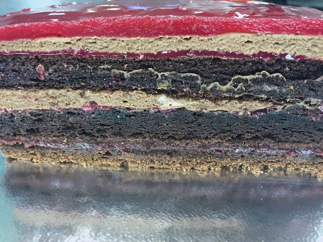 Raspberry Delice layers