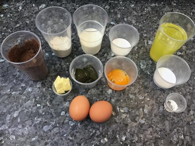 Pistachio soufflé ingredients