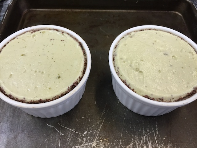 Pistachio soufflé pre-oven