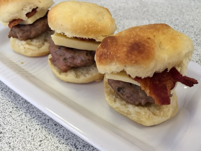 Sausage biscuits with bacon and cheddar