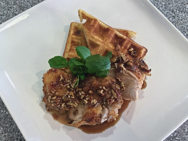 Chicken & Waffles with a balsamic pecan maple syrup