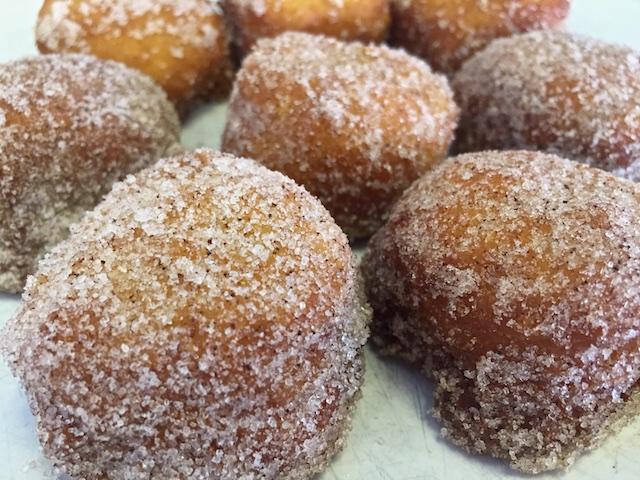 Fried buttermilk biscuits rolled in cinnamon & sugar
