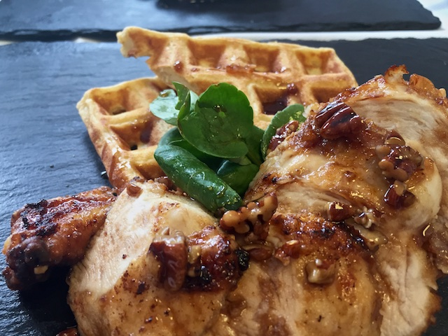 Main: Fried Chicken & Waffles with a Balsamic-Maple-Pecan Syrup