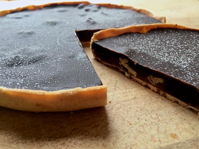 Dark Chocolate & Coffee Tart with Walnuts & Caramel