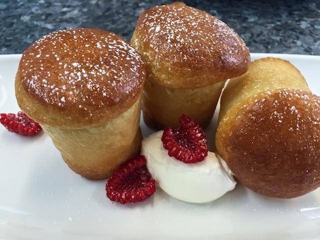 Pâte à Savarin (Rum Babas) with raspberries & cream