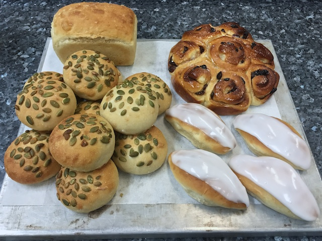 Bakery exam #1: pain de mie (loaf), seeded white rolls, Swiss buns & Chelsea buns