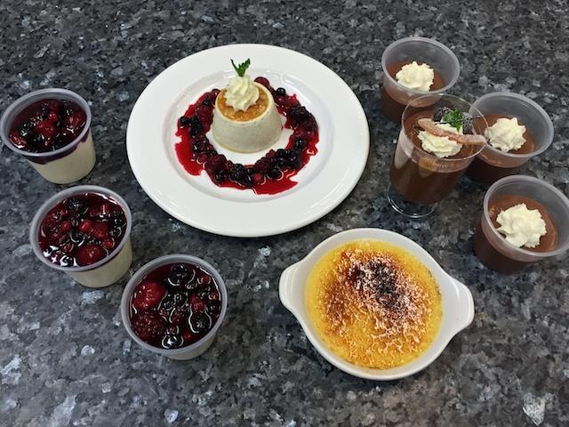Panna cotta, Chocolate mousse & Crème brûlée