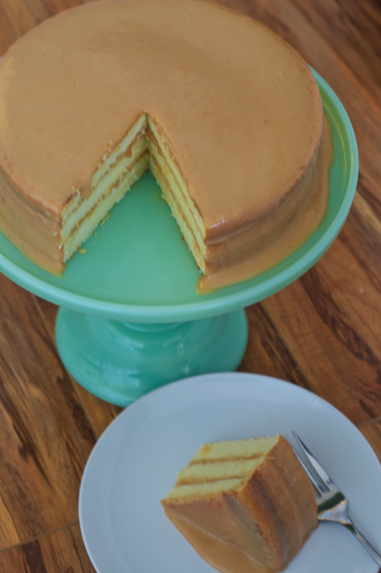 Caramel Cake with slice