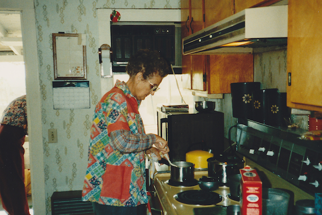 Aunt Merle in the kitchen
