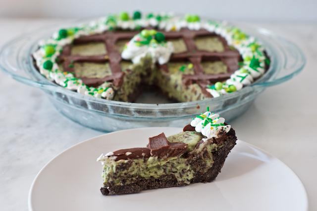 Mint Chocolate Chip Grasshopper Pie Slice
