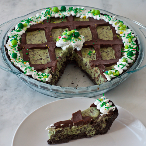 Mint Chocolate Chip Grasshopper Pie Slice