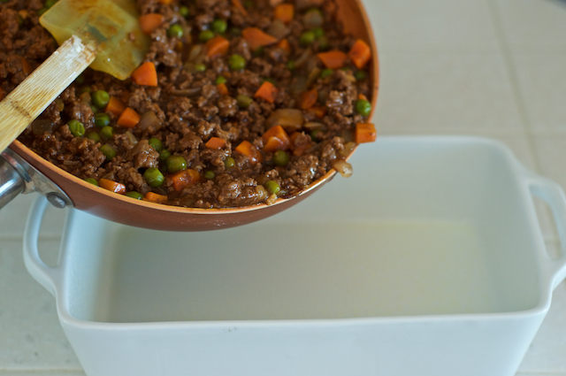 Guinness Shepherd's Pie into Dish