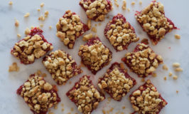 Rhubarb & Strawberry Almond Crumble Bars